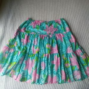 Lilly Pulitzer Pink Blue Green Floral Tier Skirt